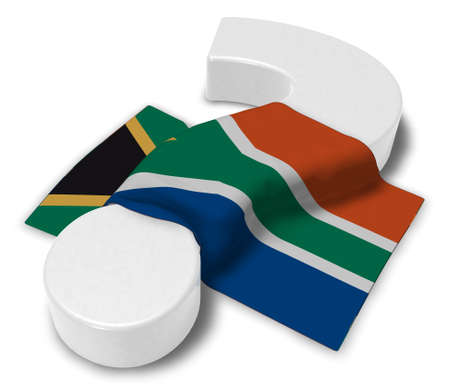 quest: Question mark and flag of South Africa - 3d rendering