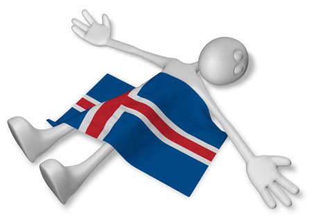 dead cartoon guy and flag of iceland - 3d illustration