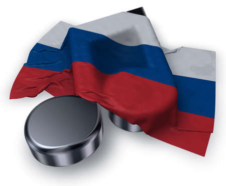 music note and russian flag - 3d rendering