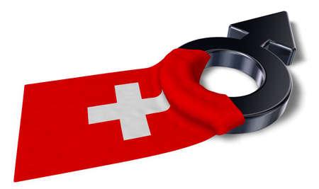 mars symbol and flag of switzerland - 3d rendering