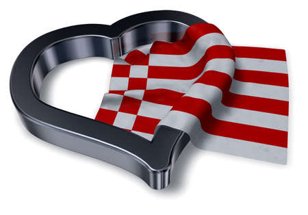 federal republic of germany: flag of bremen and heart symbol - 3d rendering Stock Photo
