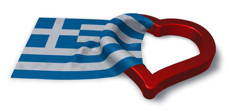 flirting: greek flag and heart symbol - 3d rendering Stock Photo