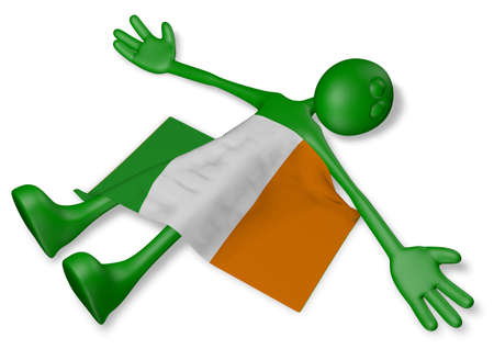 dead cartoon guy and flag of ireland - 3d illustration