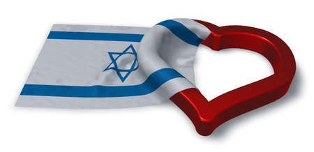 flag of israel and heart symbol - 3d rendering