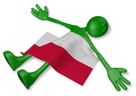 dead cartoon guy and flag of poland - 3d illustration