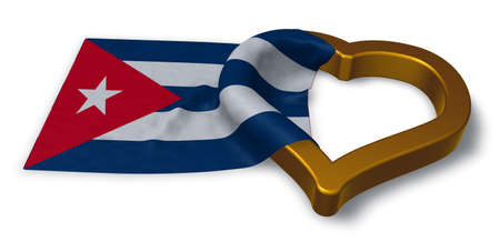 flirting: flag of cuba and heart symbol - 3d rendering Stock Photo