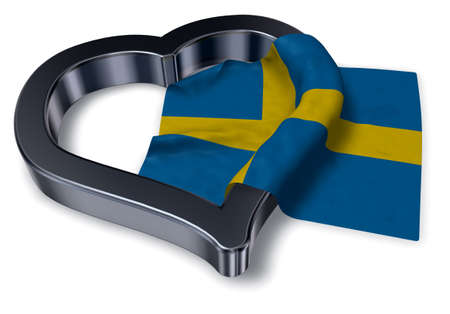 wedding couple:  flag of sweden and heart symbol - 3d rendering
