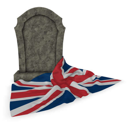 grave stone: gravestone and flag of great britain - 3d rendering Stock Photo