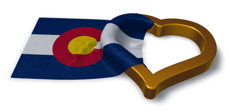 flag of colorado and heart symbol - 3d rendering Stock Photo