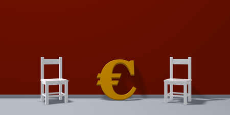 two chairs and euro symbol - 3d rendering