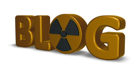 the word blog with nuclear symbol - 3d rendering
