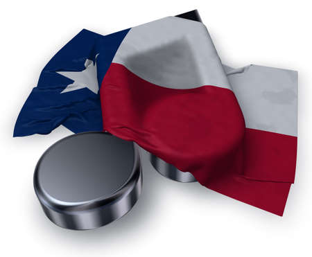 music note symbol and flag of texas - 3d rendering