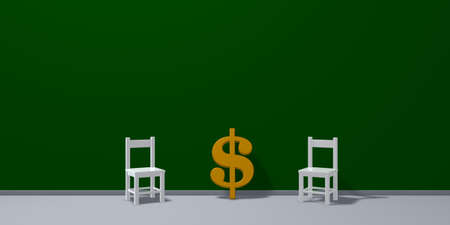 dollar symbol and two chairs - 3d rendering