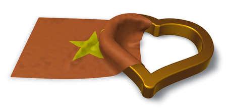 flag of vietnam and heart symbol - 3d rendering