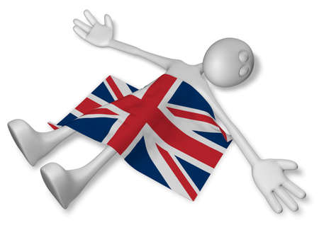 cadaver: dead cartoon guy and flag of great britain - 3d illustration Stock Photo