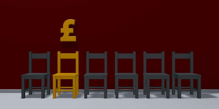 great: english pound symbol and row of chairs - 3d rendering