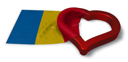 flirting: flag of romania and heart symbol - 3d rendering
