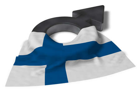 mars symbol and flag of finland - 3d rendering Stock Photo