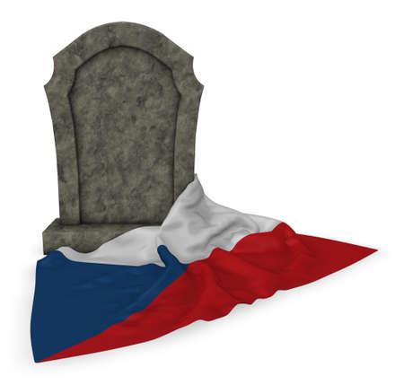 grabstein und flagge der tschechischen republik - 3d rendering