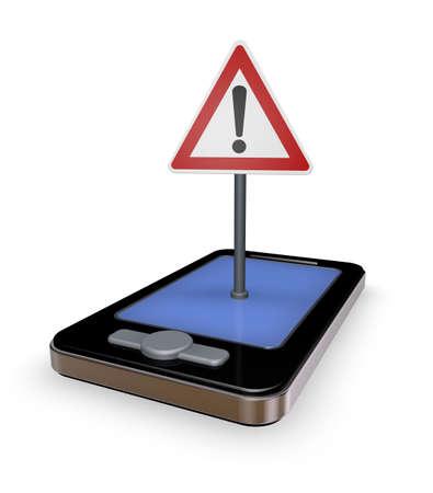 smartphone mit verkehrszeichen achtung auf dem display - 3d illustration Stock Photo