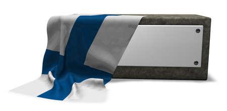 steinsockel met leerem schild und fahne von finnland - het 3d teruggeven