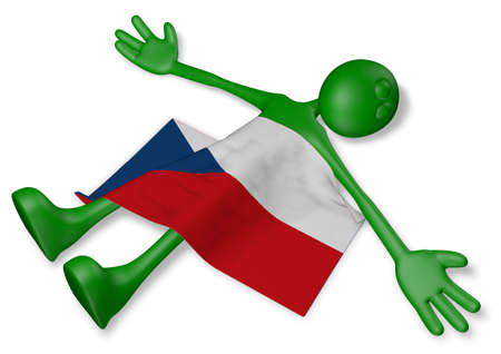 dead cartoon guy and flag of the czech republic - 3d illustration Banco de Imagens