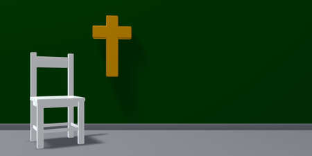 chair and christian cross - 3d rendering Stock Photo