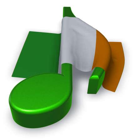 music note symbol and irish  flag - 3d rendering