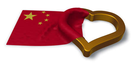 flag of china and heart symbol - 3d rendering