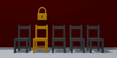row of chairs and padlock - 3d rendering Stock Photo