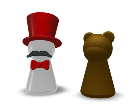animal trainer and bear - 3d illustration Stock Photo