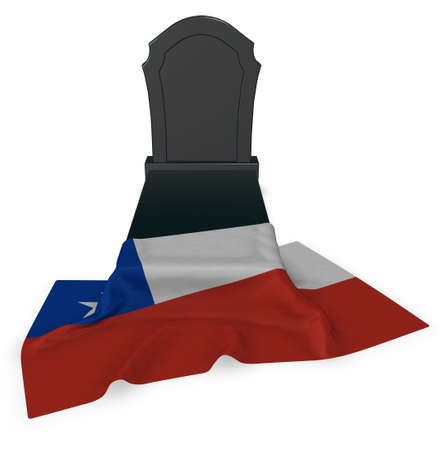 gravestone and flag of chile - 3d rendering Stock Photo