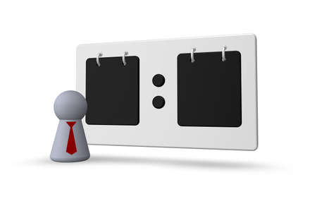 scoreboard and play figure with tie  on white background - 3d illustration