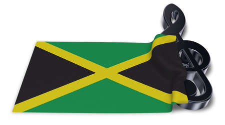 clef symbol symbol and flag of jamaica - 3d rendering