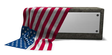 stone socket with blank sign and flag of usa - 3d rendering Stock Photo
