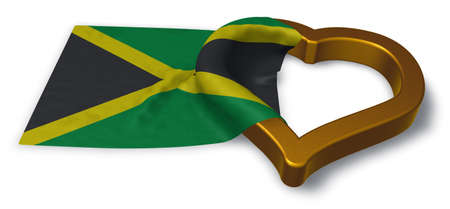 day: flag of jamaica and heart symbol - 3d rendering Stock Photo