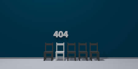row of chairs and number 404 - 3d rendering