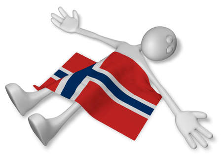 dead cartoon guy and flag of norway - 3d illustration Stock Photo