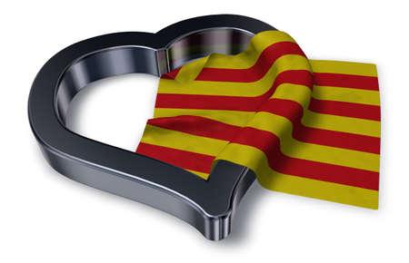 カタルーニャとの心のシンボル - 3 d レンダリングの旗