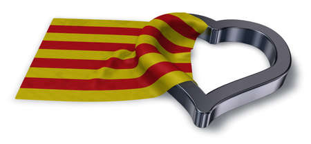 flag of catalonia and heart symbol - 3d rendering Banco de Imagens