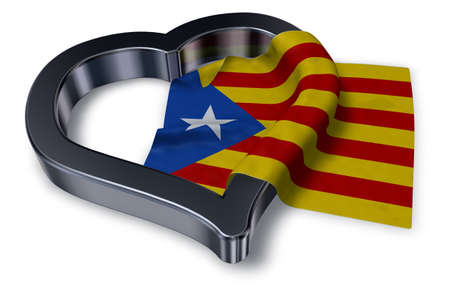 flag of catalonia and heart symbol - 3d rendering Imagens