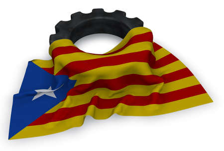 gear wheel and flag of catalonia - 3d rendering Stock Photo