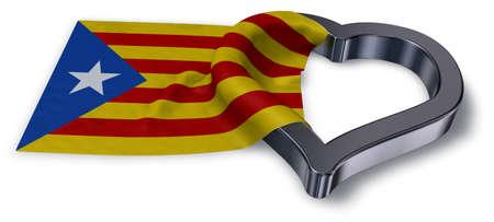 Bandera de cataluña y símbolo del corazón - representación 3d Foto de archivo