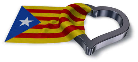 flag of catalonia and heart symbol - 3d rendering Reklamní fotografie