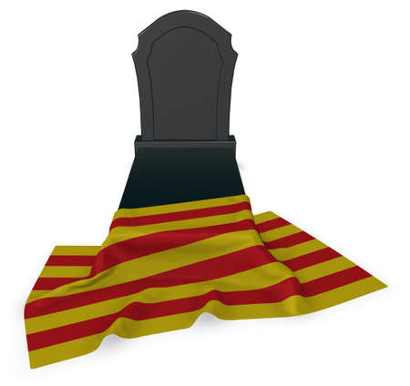 grave stone: gravestone and flag of catalonia - 3d rendering
