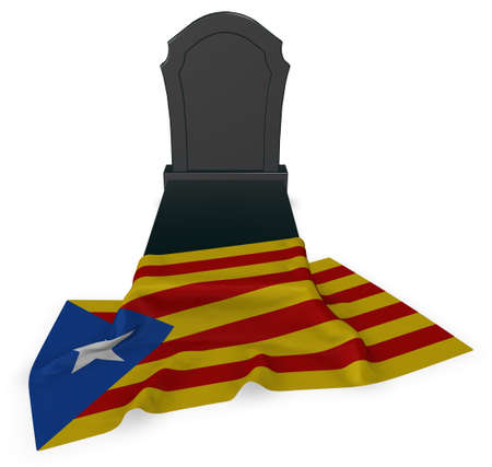 gravestone and flag of catalonia - 3d rendering