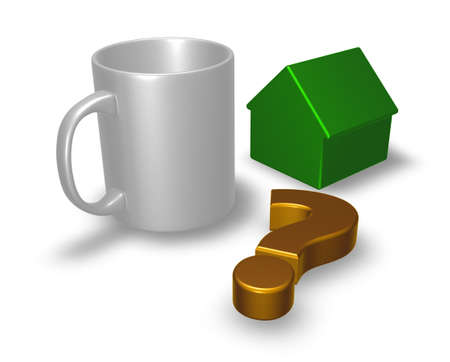 mug, question mark and house model - 3d rendering Stock Photo