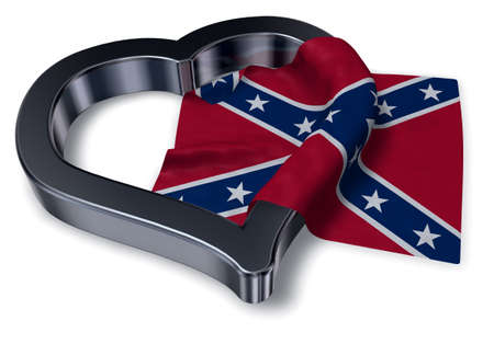 heart symbol and flag of the Confederate States of America - 3d rendering Stock Photo