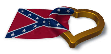 flirting: heart symbol and flag of the Confederate States of America - 3d rendering Stock Photo