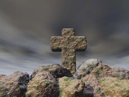 stone cross under cloudy sky - 3d illustration